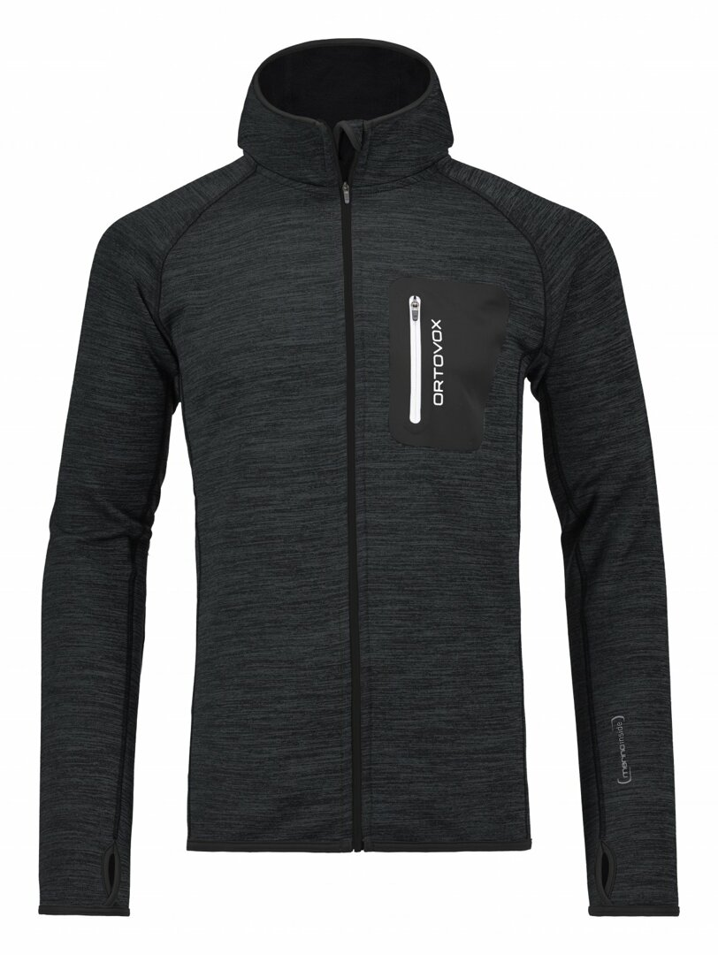 cb2f3c4b6ce Men s Sweatshirt Fleece Melange Hoody Ortovox Black Blend ...
