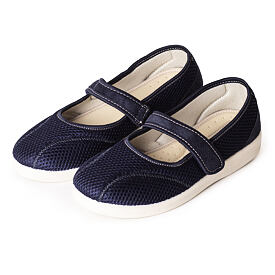 Ladies comfortable orthopedic Ballerinas with Velcro Blue
