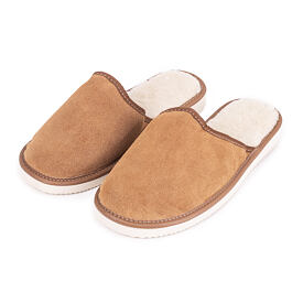 Women's leather slippers with Sheep Wool
