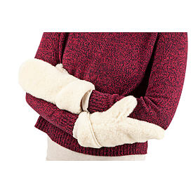 Woolen mittens from sheep wool - Natural White Off white