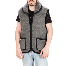 Vest from Sheep wool with Collar - Dark Gray, Zipper