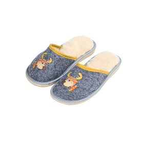 Kid's felt slippers with sheep wool - Reindeer