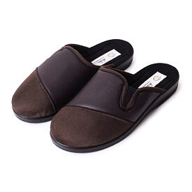 Men's leather all-year slippers Brown
