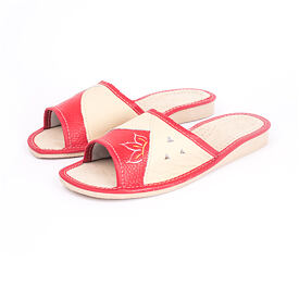 Summer leather slippers - Red Flower