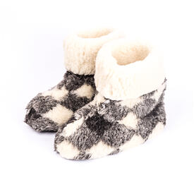 TV slippers checkered from sheep's wool