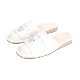 Women's leather slippers LUX - Snowflake