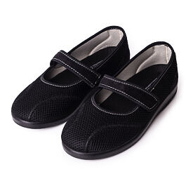 Ladies comfortable orthopedic Ballerinas with Velcro Black