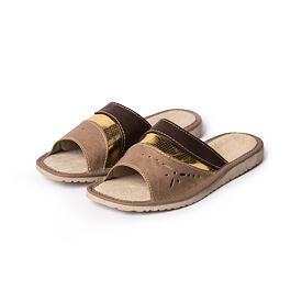 Women's Summer Leather slippers - Gold