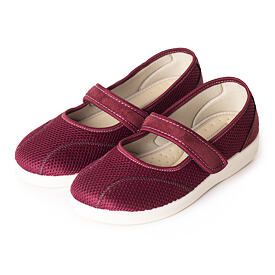 Ladies comfortable orthopedic Ballerinas with Velcro Red