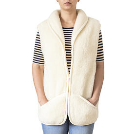 Vest from sheep wool with Collar - Natural, Zipper