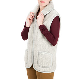 Vest from Sheep wool with Collar - Light Gray, Zipper