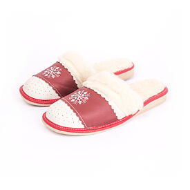 Women's leather slippers LUX - Red Snowflake