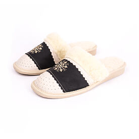 Women's leather slippers LUX - Dark Snowflake