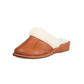 Ladies leather slippers with sheep wool - Brown