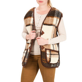 Vest from Sheep wool - Checkered pattern, Button