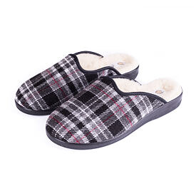 Men's slippers comfort with sheep wool checkered