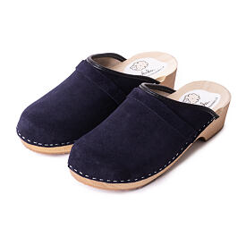 Women's orthopedic clogs with grinded leather - Blue