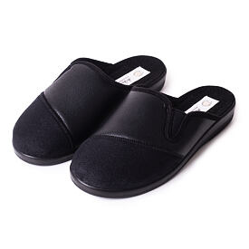 Men's leather all-year slippers Black
