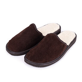 Men's leather slippers with Sheep Wool