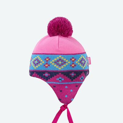 Kids fleece cap with earflaps KAMA B66 - Pink