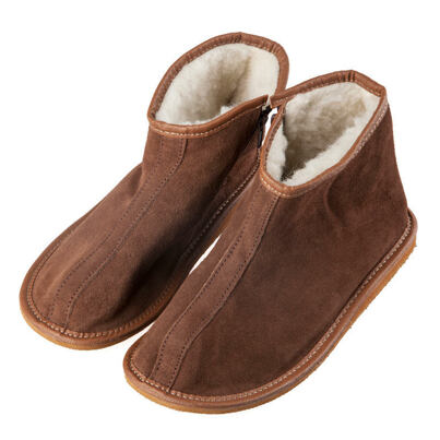 Leather Ankle slippers with sheep wool, side zipper