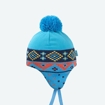 Kids fleece cap with earflaps KAMA B66 - Cyan