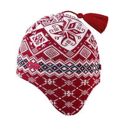 Knitted cap with ear flaps merino Kama A74 - Red