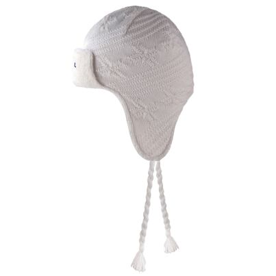 Kids knitted merino cap with earflaps KAMA B66 - Off White