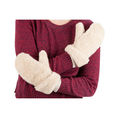 Woolen mittens from sheep wool - Natural White Beige