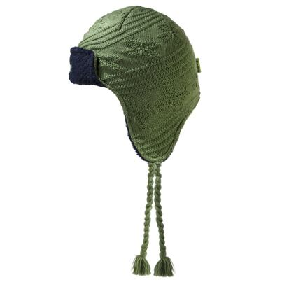 Kids knitted merino cap with earflaps KAMA B66 - Green