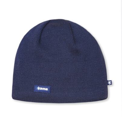 Knitted merino cap Kama AW19 Windstopper Soft Shell - Navy Dark blue