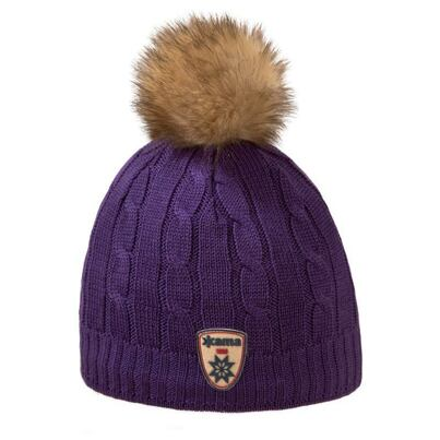Women's knitted merino cap KAMA A75 - Purple